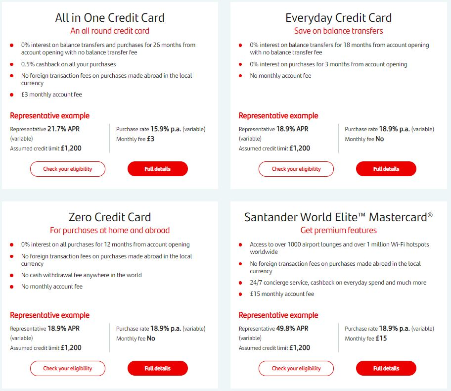 santander credit cards register login