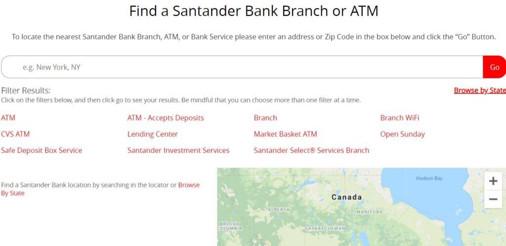 santander near me branchs atm