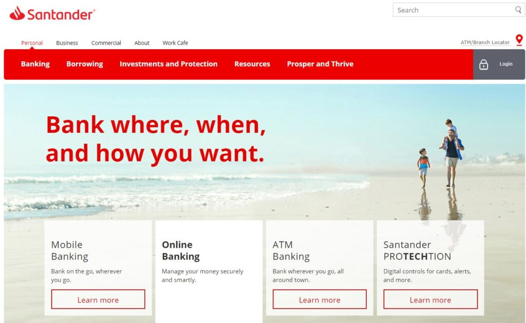 santander online banking login register