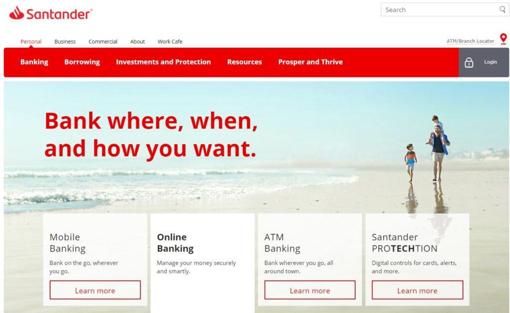 santander online banking login register