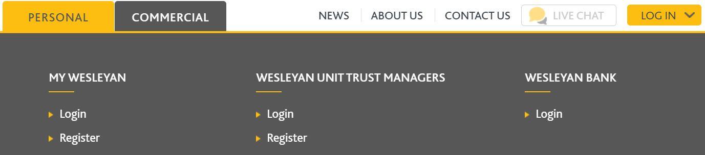wesleyan banking online login